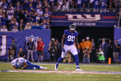 (Photo Credit: Bobby O'Hara/PureSportsNY) Pierre-Paul showing emotion after forcing a Lions turnover, with a strip sack.
