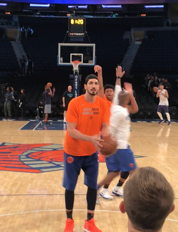 Enes Kanter an hour before tip off getting some shots up. Photo ATH