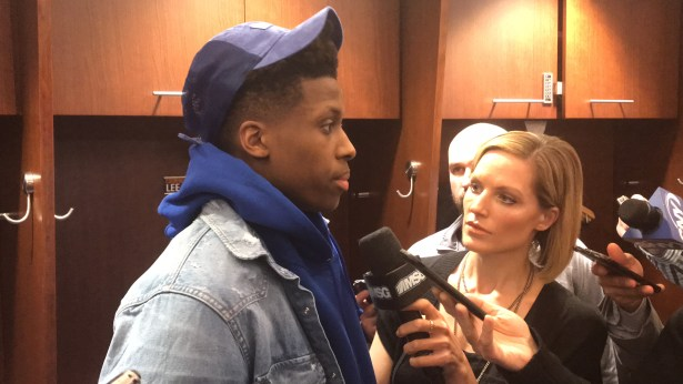 Rookie Frank Ntilikina played some huge minutes and contributed 15 points. Photo ATH