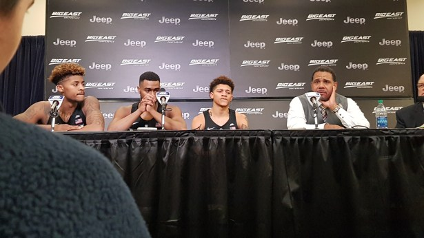 Coach. Ed Cooley/Providence players addressing the media after win in the Big East Tournament.