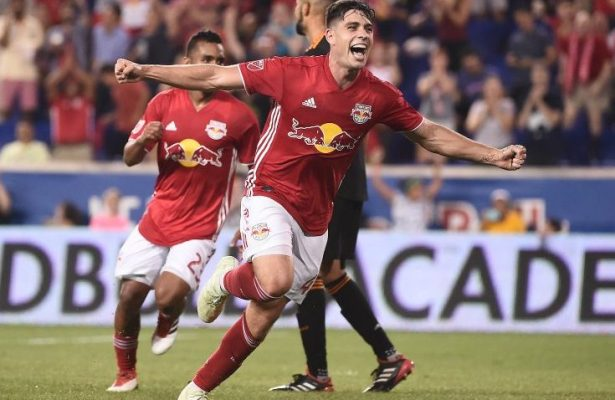 Brian White celebrates after scoring his first MLS goal, the game winner in a 1-0 victory over Houston. Credit New York Red Bulls.