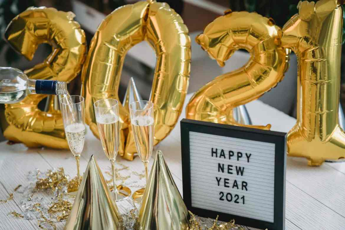 festive decorations on table for new year celebration