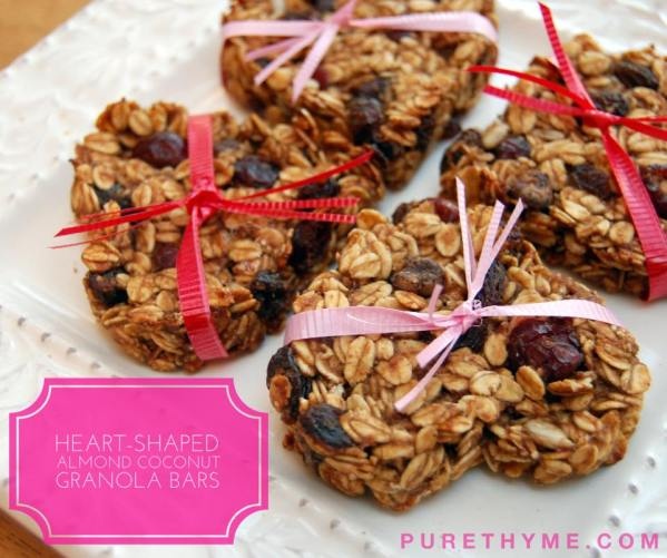Heart-Shaped Almond Coconut Granola Bars (Vegan)