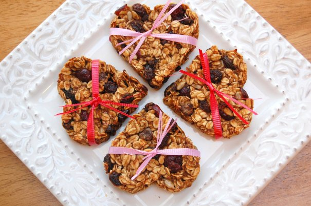 Heart-Shaped Almond Coconut Granola Bars