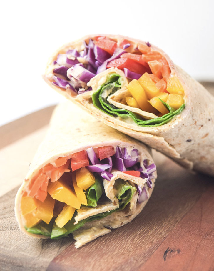 rainbow hummus wraps