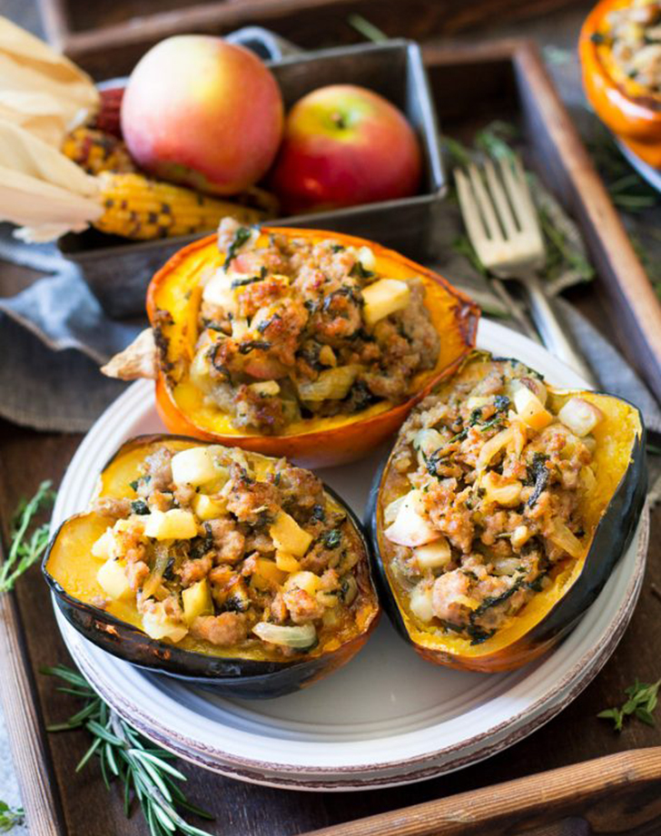 caramelized onion apple sausage stuffed acorn squash recipe