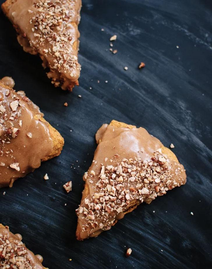 pumpkin pecan maple scones