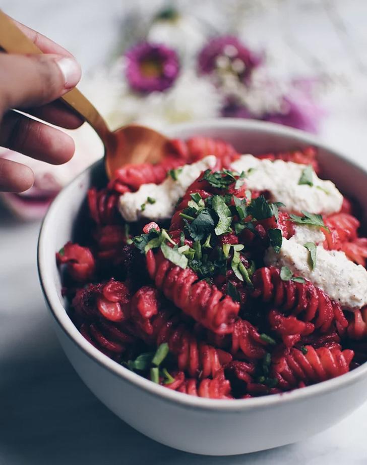 pink beet fusilli pasta with cashew crema recipe