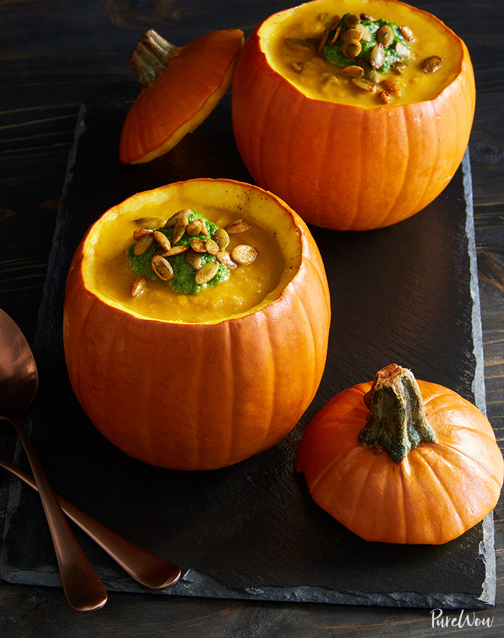 pumpkin soup in mini pumpkin bowls recipe