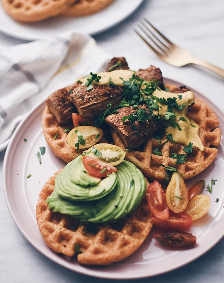savory cornbread waffles with crispy trumpet mushrooms and buffalo ranch sauce recipe