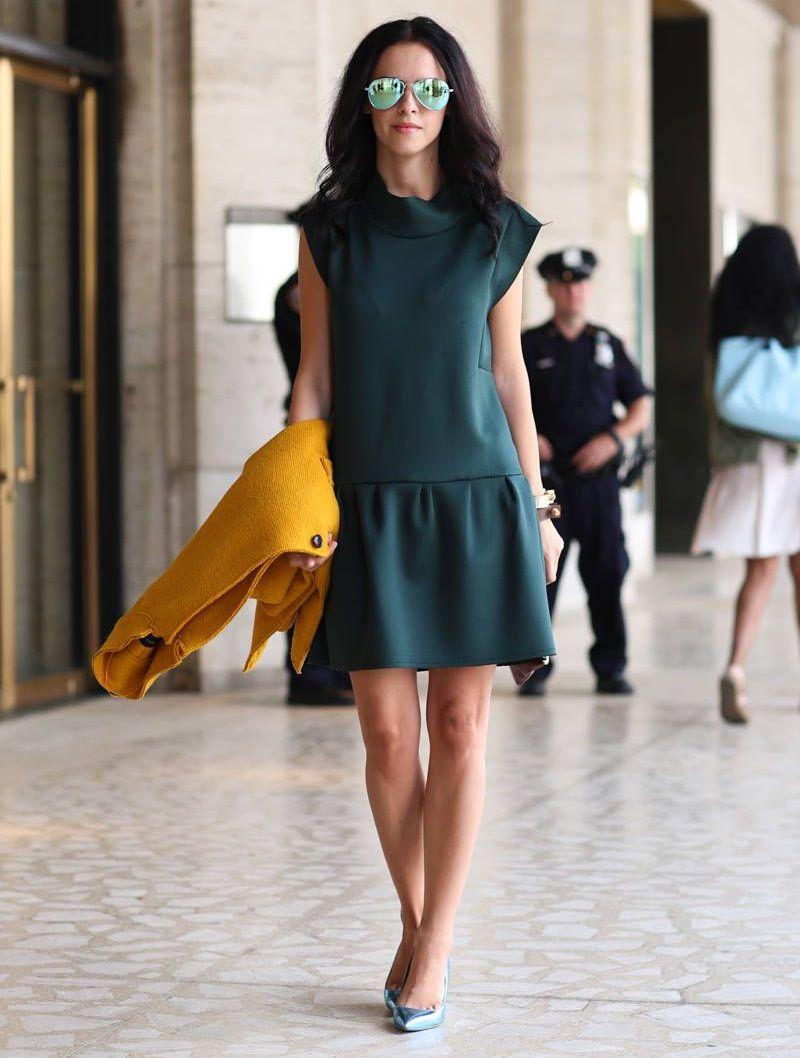 woman wearing a drop waist dress