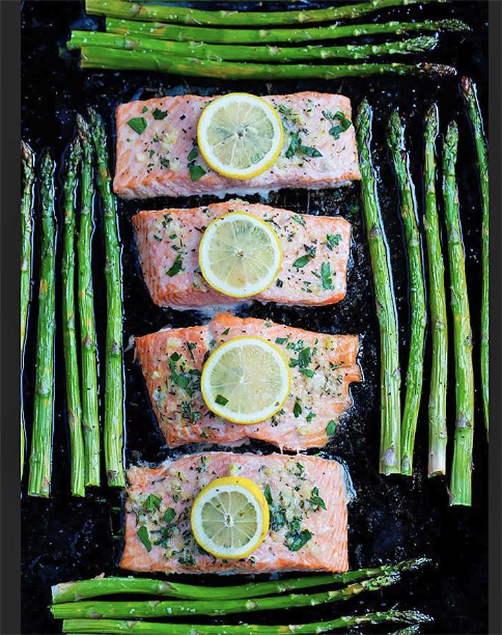 sheet pan salmon asparagus recipe
