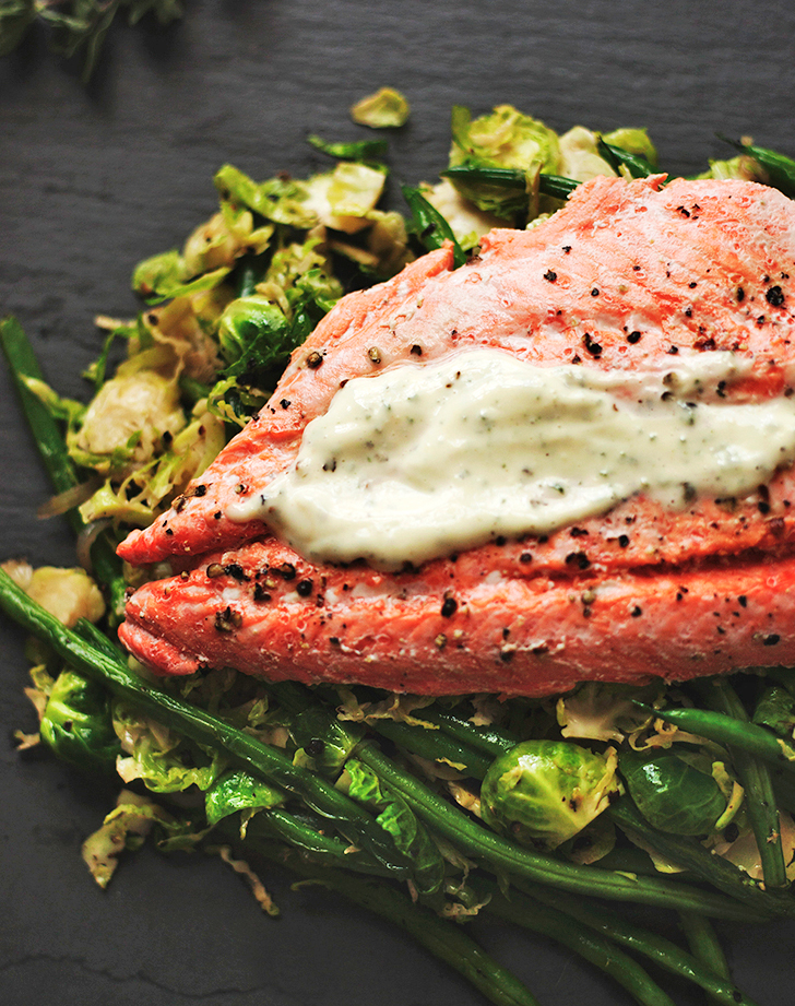 white wine poached wild salmon warm brussels sprouts recipe