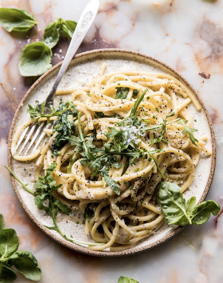 cacio e pepe with arugula and lemon recipe