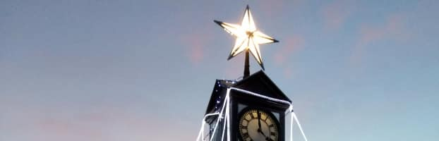 Sheringham town clock at Christmas