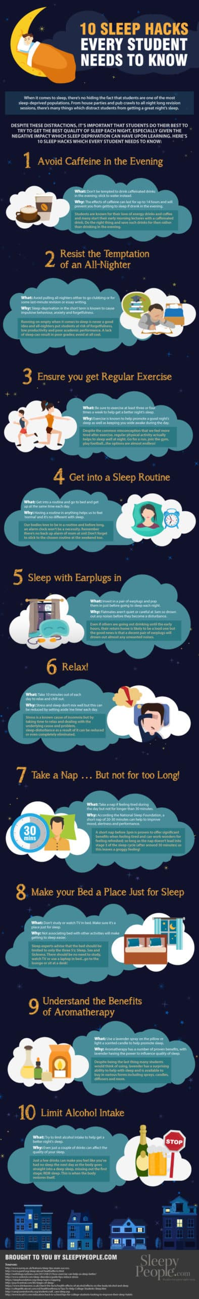 10 Sleep Hacks Every Student Needs To Know Infographic