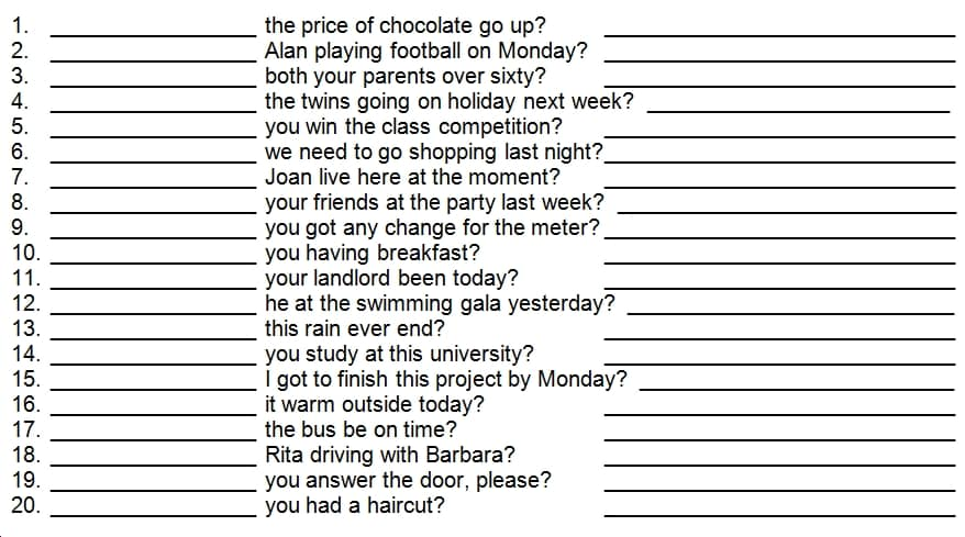 questions for lesson 4 Lesson 4: asking questions there are four main ways in english to form a question by making your voice rise at the end of a sentence by beginning the sentence with .