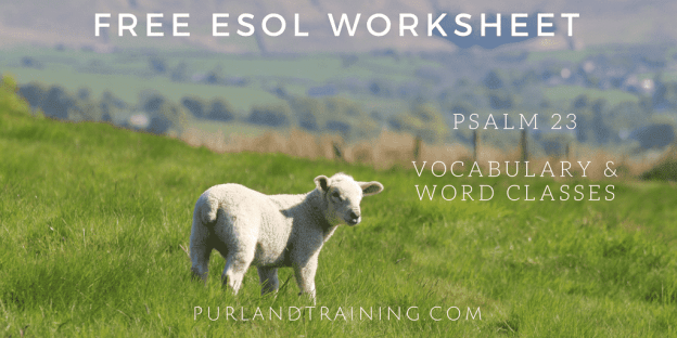 FREE Worksheet! Psalm 23 - Vocabulary - Word Classes