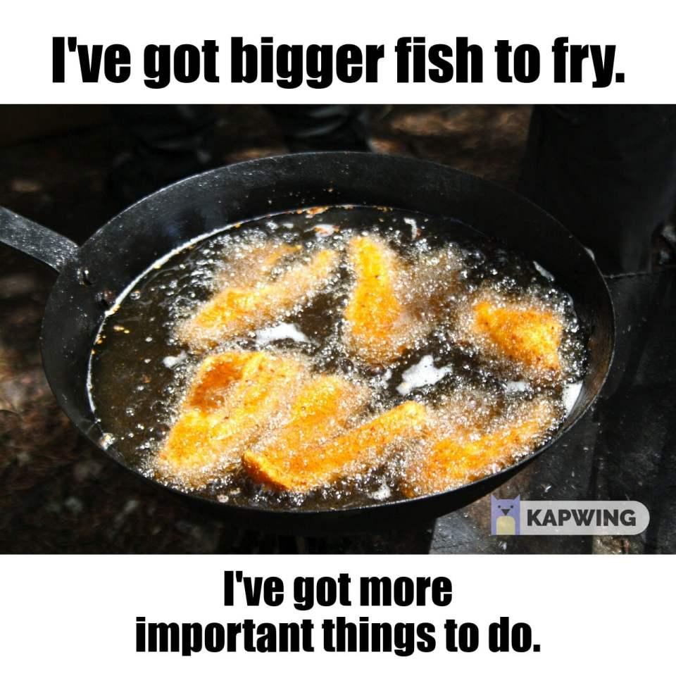 I've got bigger fish to fry.