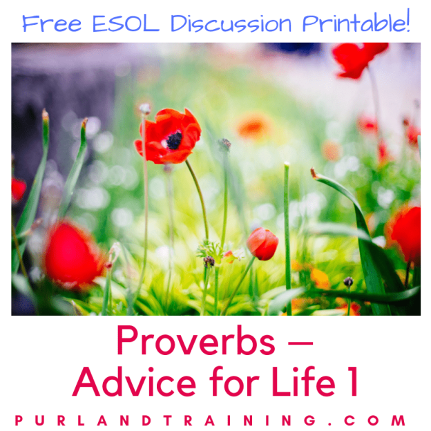 FREE Discussion Worksheet: Proverbs – Advice for Life 1