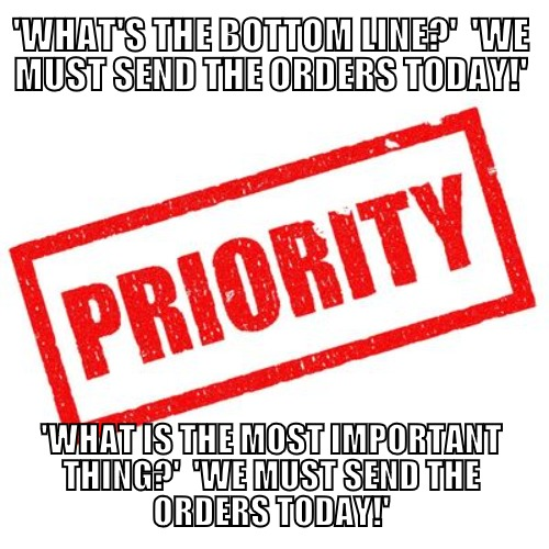 The bottom line = The most important thing / the main priority