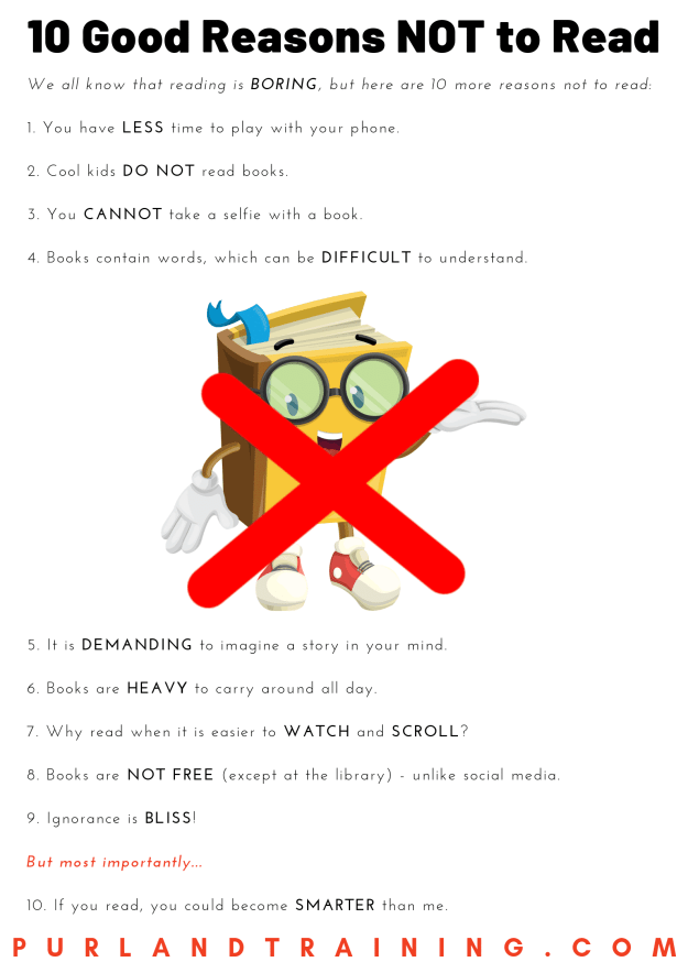 10 Good Reasons NOT to Read - Infographic
