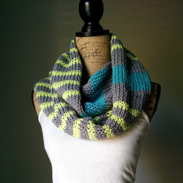 Neon Stripes Infinity Scarf - Purl Avenue