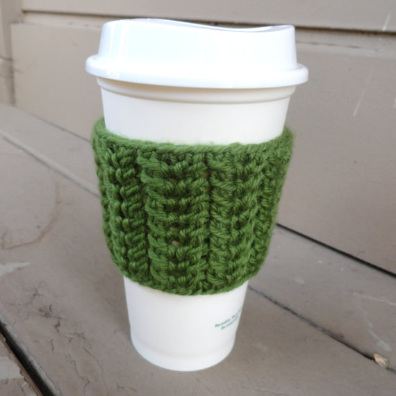 Spine Stitch Coffee Cup Sleeve green