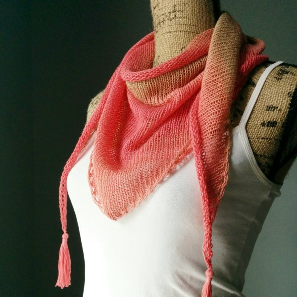 Stockinette Stitch Shawlette side view - Purl Avenue
