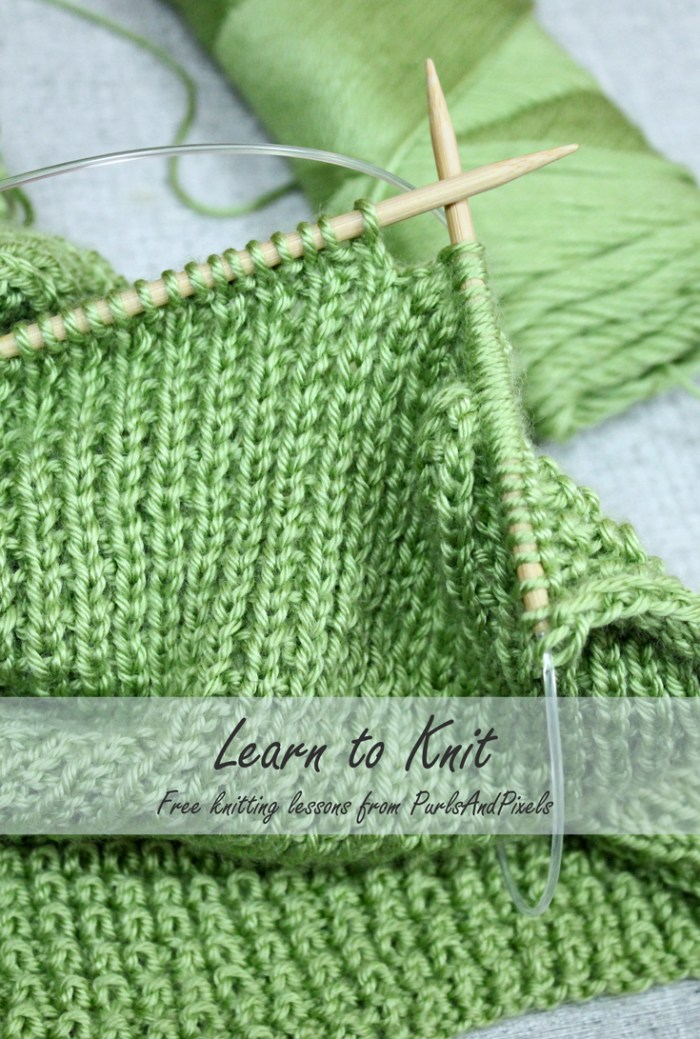 Learn to knit with free online knitting lessons from Liz @PurlsAndPixels