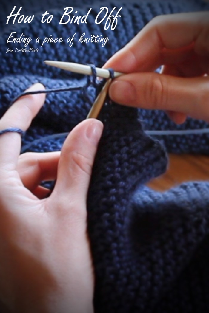 How to bind off knitting, how to end a knitted piece, free tutorial from PurlsAndPixels