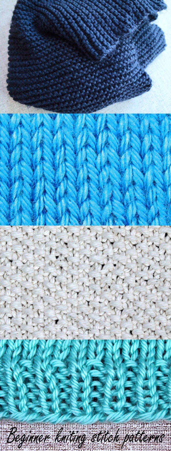 Beginner knitting stitch patterns, free knitting lesson from PurlsAndPixels