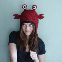 Hermit crab hat handmade crochet ear flap hat by PurlsAndPixels