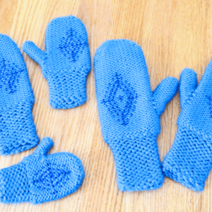 Anna's blue snowflake mittens inspired by the Disney move Frozen.