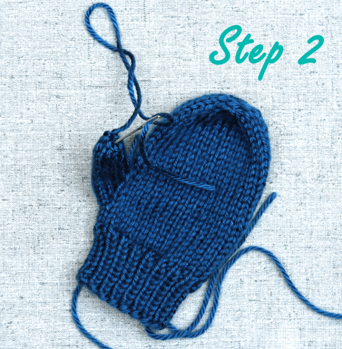 How to bind off a mitten thumb, step 2, knitting tips from Liz @PurlsAndPixels