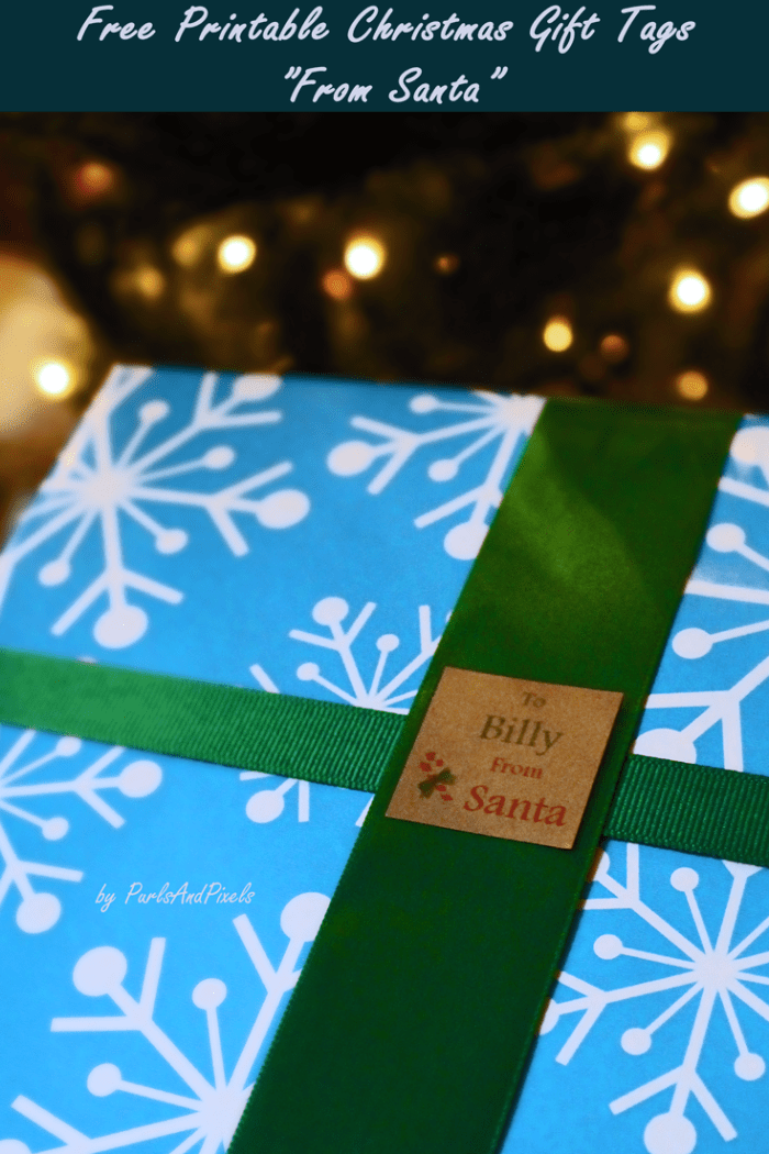 """Free printable """"from Santa"""" gift tags for Christmas from Liz @PurlsAndPixels"""