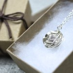 Gift for knitters and crocheters, little ball of silver yarn necklace by Liz @PurlsAndPixels