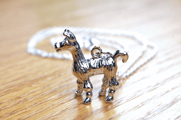 Llama necklace, silver 3d animal pendant on long chain with lobster claw clasp, designed by Liz @PurlsAndPixels