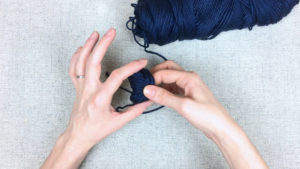 How to wind a center pull ball of yarn, step 5, guide from PurlsAndPixels