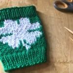 Lucky clover coffee cozy St. Patrick's Day free knitting pattern ,design from Liz @PurlsAndPixels