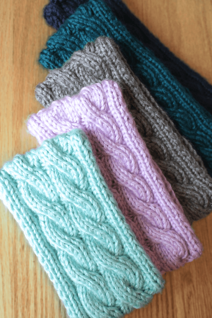 Double cable knit ear warmer headband knitting pattern by Liz @PurlsAndPixels