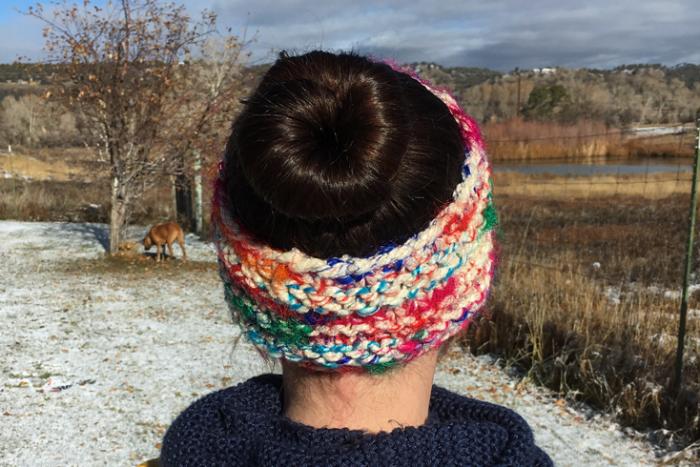 Darn Cute Ear Warmer headband/messy bun hat knitting pattern