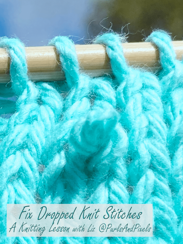 Learn to fix dropped knit stitches in this knitting lesson about spotting and repairing mistakes from Liz Chandler @PurlsAndPixels.
