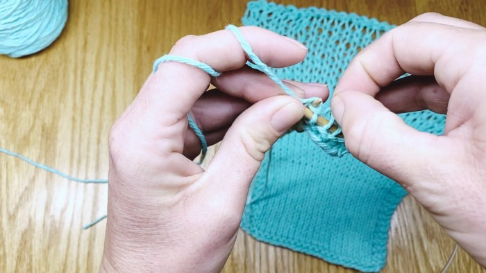 Step 2: How to keep even knitting tension by fixing loose stitches as you go - a knitting lesson from Liz @PurlsAndPixels
