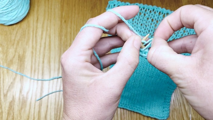Step 3: How to keep even knitting tension by fixing loose stitches as you go - a knitting lesson from Liz @PurlsAndPixels