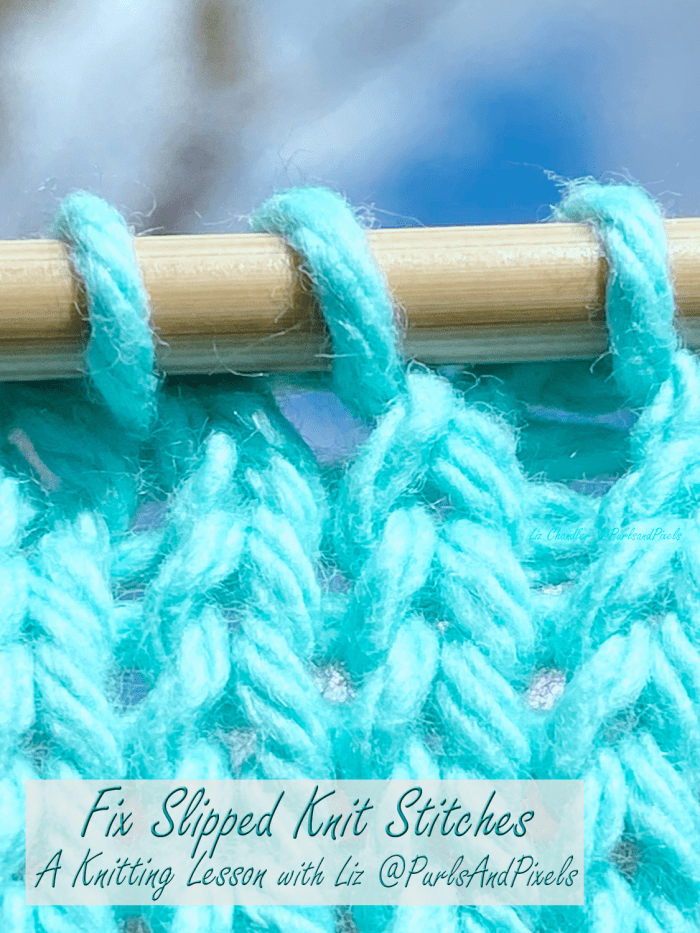 Learn to fix slipped knit stitches in this knitting lesson about spotting and repairing mistakes from Liz Chandler @PurlsAndPixels.