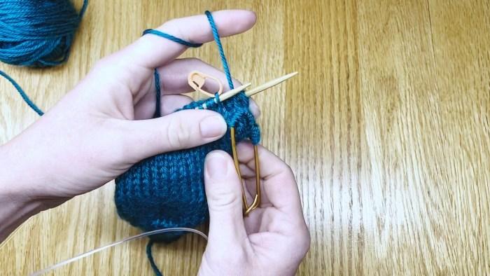 Step 6: Slip stitches onto stitch holder - a knitting lesson with Liz Chandler @PurlsAndPixels.