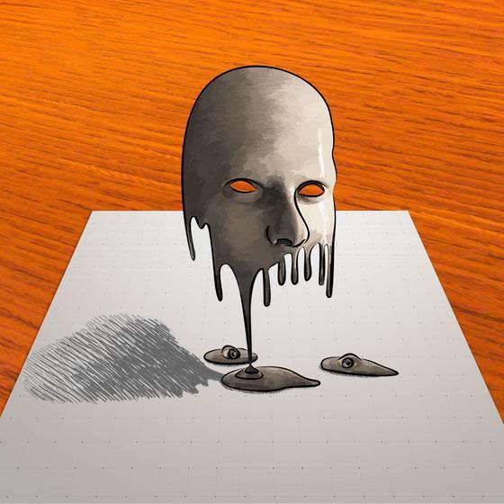 Як навчитися малювати 3D маску на папер поетапно