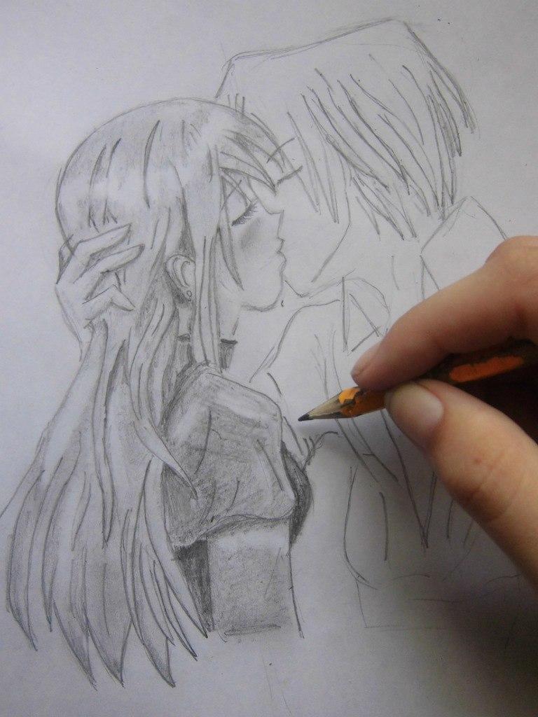 urok_risovanie_karandashom_celuyushhiesya_anime_pary-step-7 Как нарисовать пару из Вокалоидов карандашом поэтапно