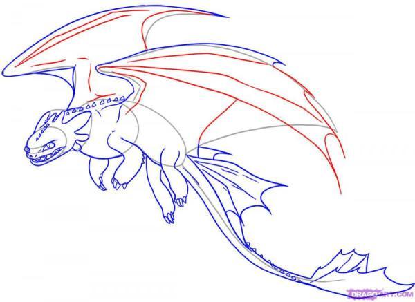 Как нарисовать дракона Беззубика из Как приручить дракона ...